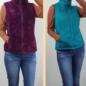 The North Face reversible fuzzy puffer vest